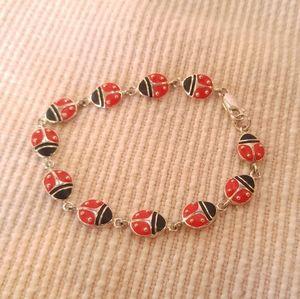 Ladybug Sterling Linked Bracelet Enamel & Silver